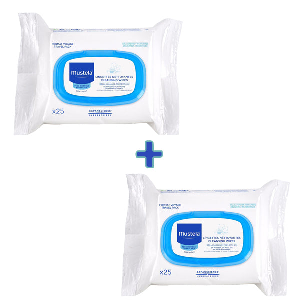 Mustela Cleansing wipes - Travel Pack, 25 Wipes