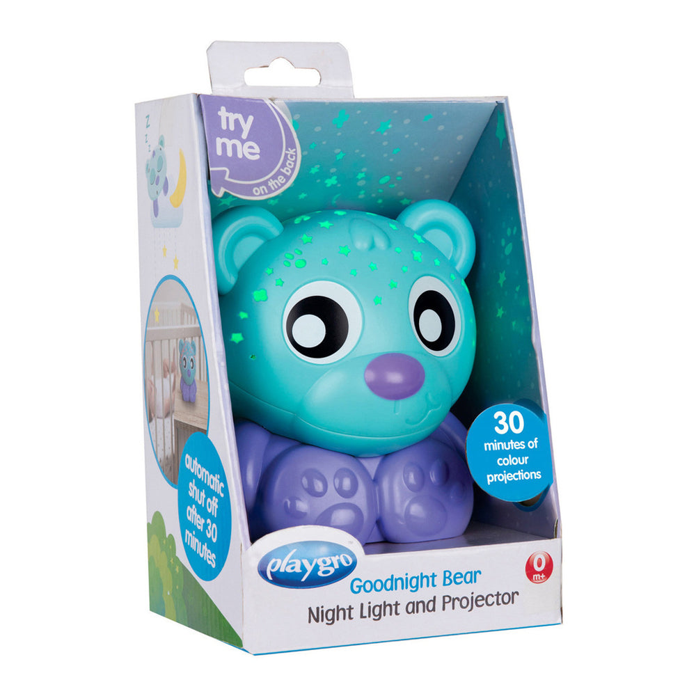 Playgro Goodnight Bear Night Light and Projector - Purple and Teal