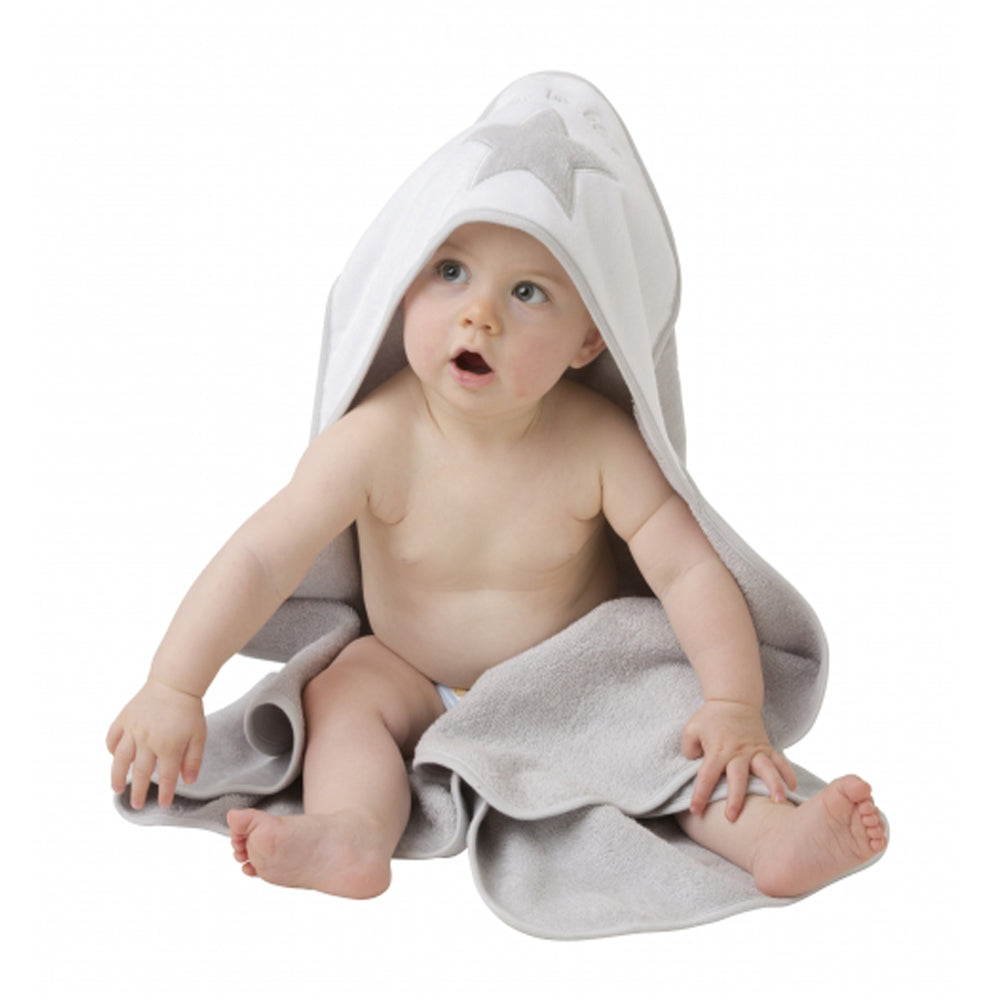 Playgro Home Hooded Towel (Grey & White)