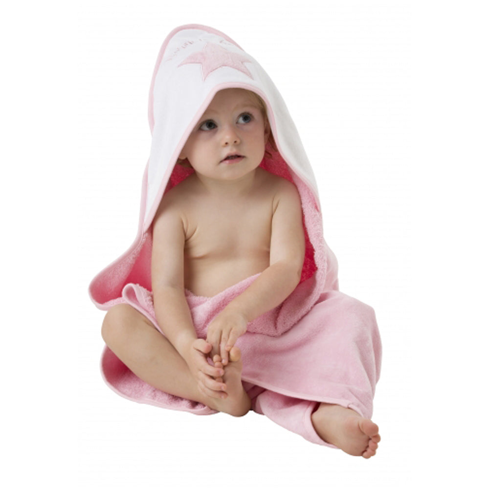 Playgro Home Hooded Towel (Pink & White)
