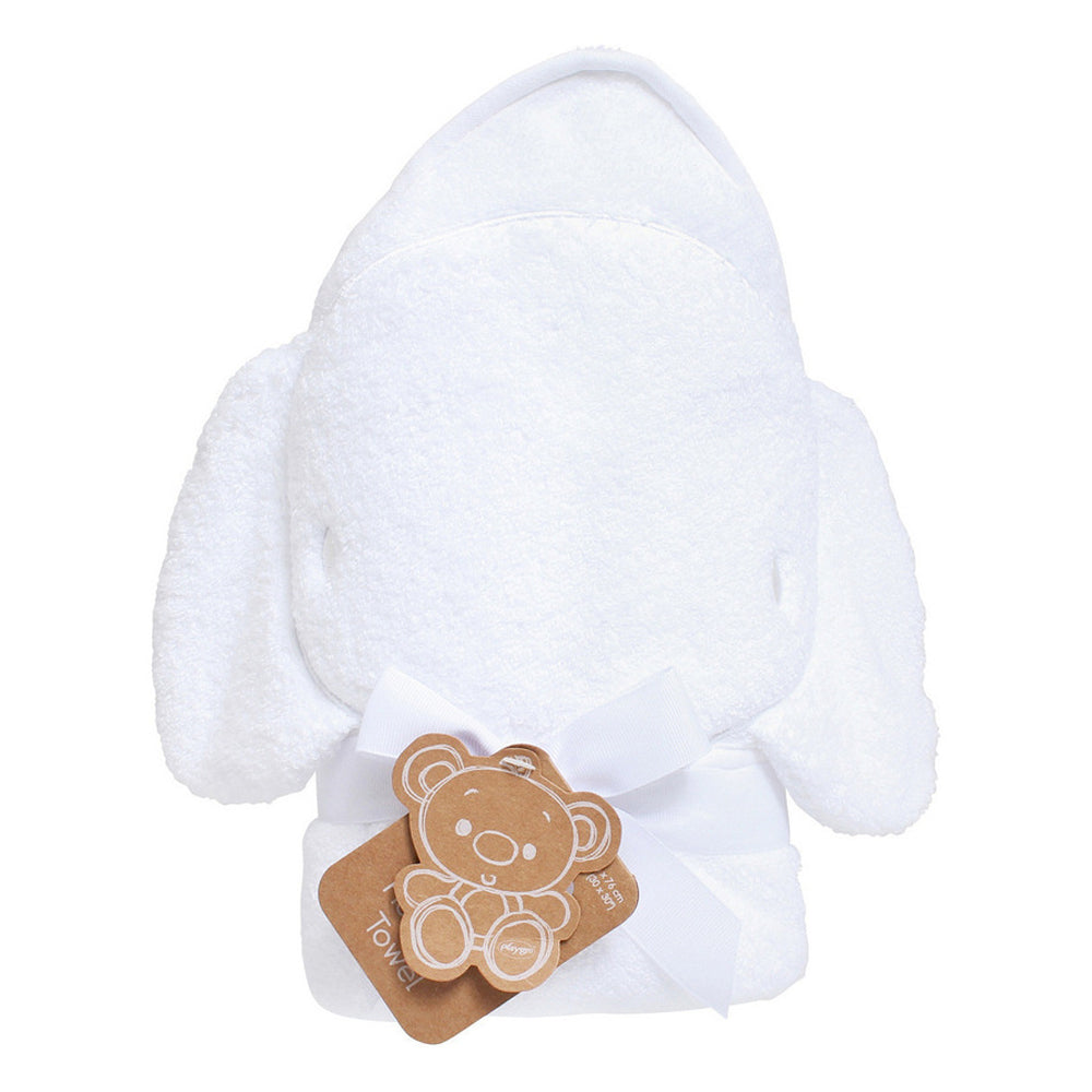 Playgro Hooded Towels -Elephant (White)