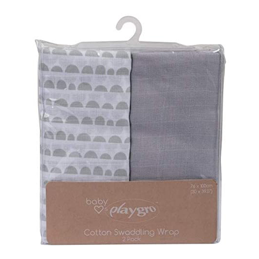 Baby Loves Playgro Muslin Wrap - Scallop Grey, 2 Pieces