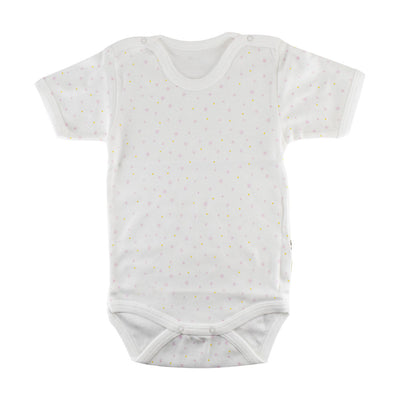 Sebi-Cotton Short Sleeve BodySuit White with Pink Snowflake