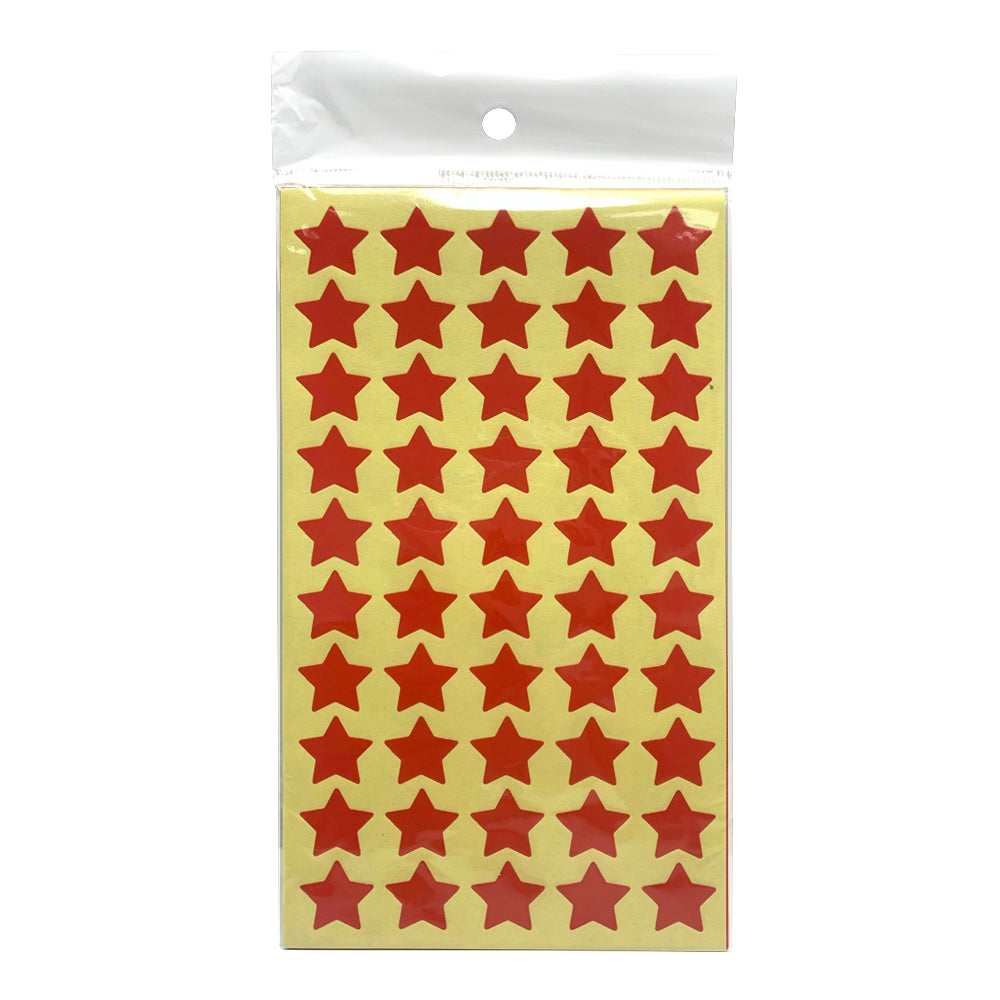 Self-Adhesive Stickers Stars (Red), 50
