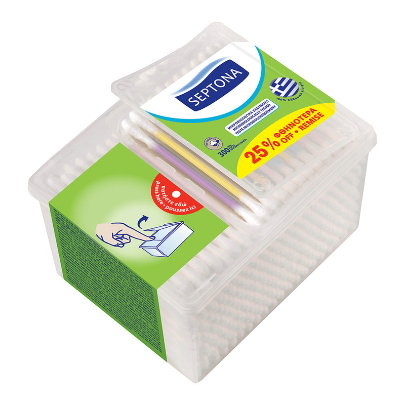 Septona Promo Cotton Buds Dispenser box 300's 25%OFF