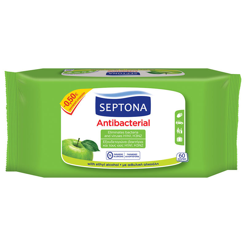 Septona Anti Bacterial Refreshing Wet Wipes Green Apple 60's