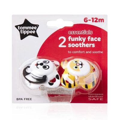 Tommee Tippee Essentials Funky Face Soother 6-12 Months, Pack of 2