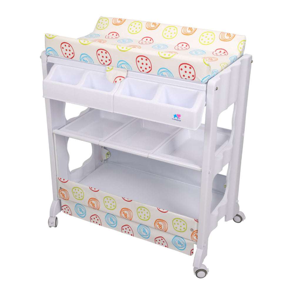 TheKiddoz 2 in 1 Changing Table with Bathtub, Colorful Circles