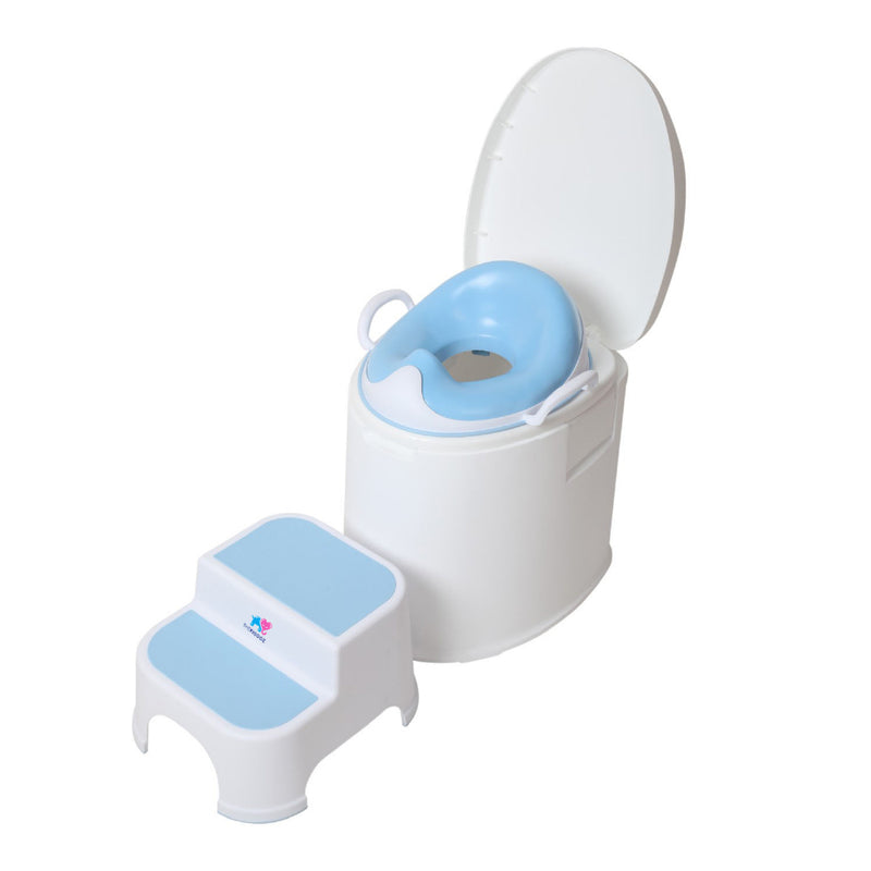 TheKiddoz Squishy Toilet Trainer seat with grip and ladder, Blue Set
