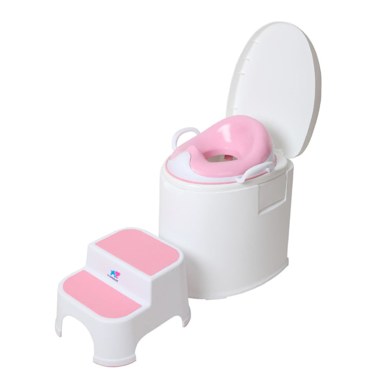 TheKiddoz Toilet Squishy Trainer seat with grip and ladder, Pink Set