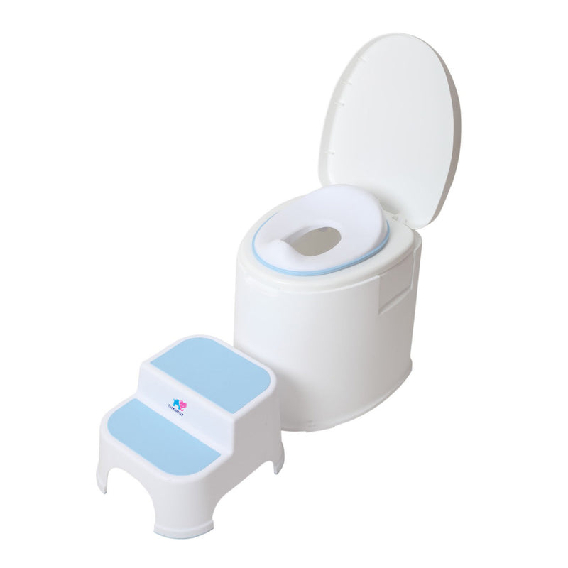 TheKiddoz Toilet Trainer seat and ladder, Blue Set