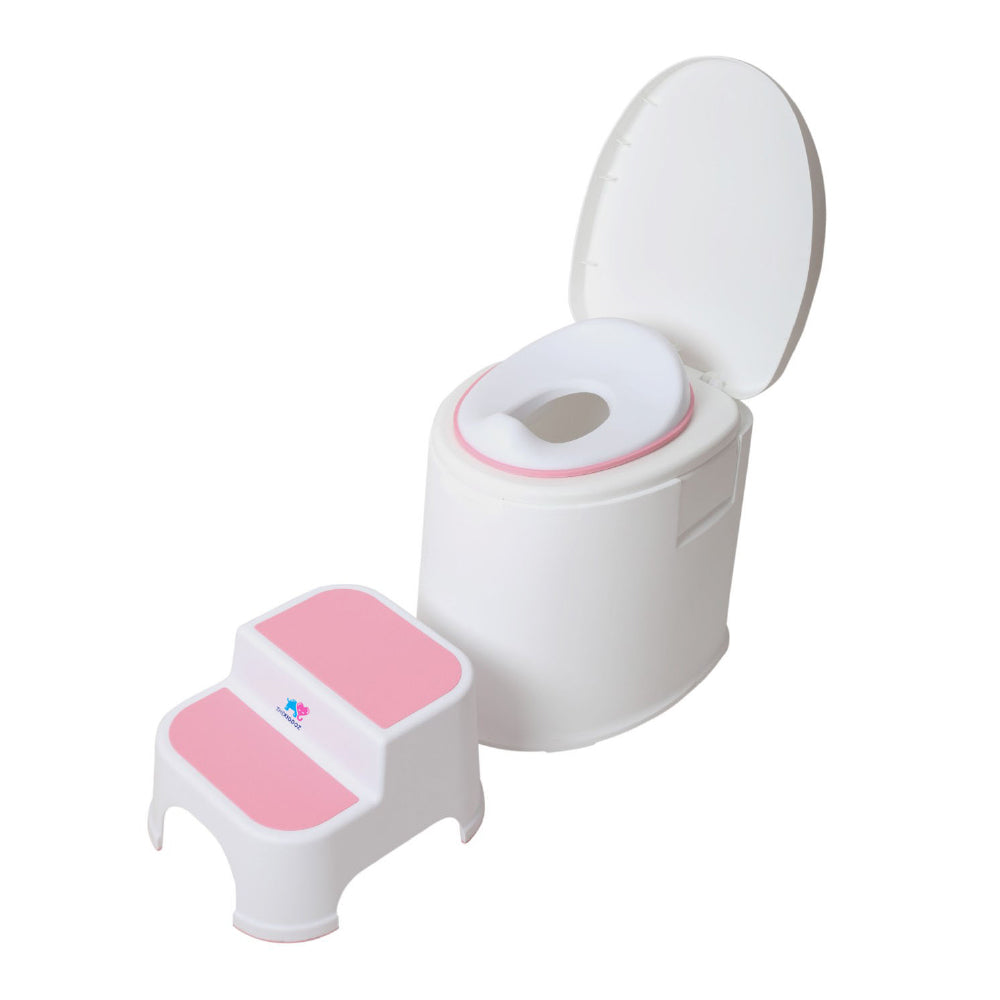 TheKiddoz Toilet Trainer seat and ladder, Pink Set