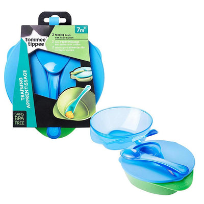 Tommee Tippee 2 Feeding Bowls with spoon and leakproof lid