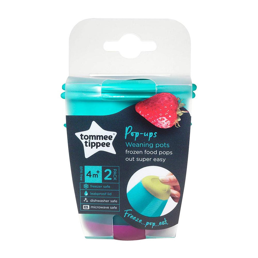 Tommee Tippee 2 Pop Up Weaning Pots Teal, 4 Months+