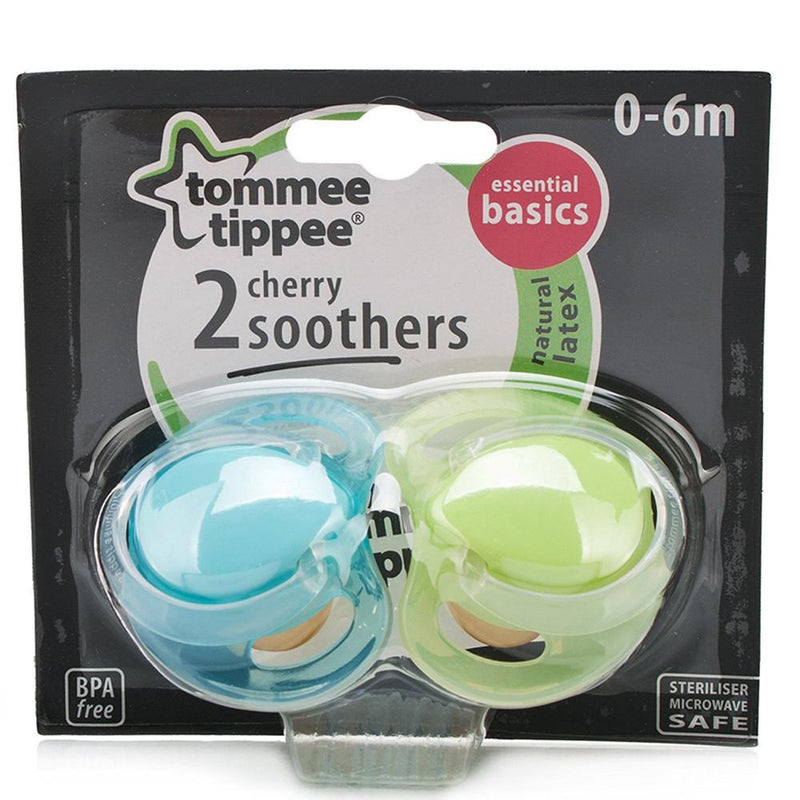 Tommee Tippee Essentials Latex Cherry Soothers 0-6 Months Blue, Pack of 2