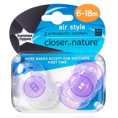 Tommee Tippee Closer to Nature Air Style soother 6-18 Months, Pack of 2