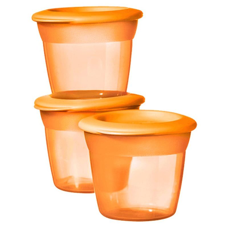 Tommee Tippee Essentials Food Pots, Orange Pack of 3