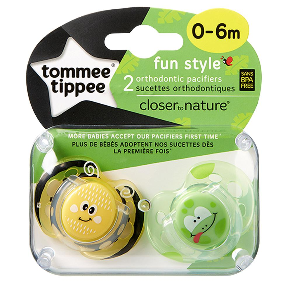 Tommee Tippee Fun Style Soothers 0-6 Months, Pack of 2