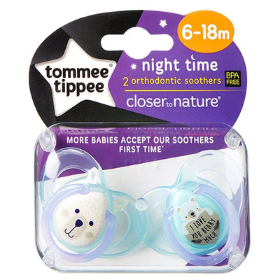 Tommee Tippee Night Soother 6-18 Months, Pack of 2