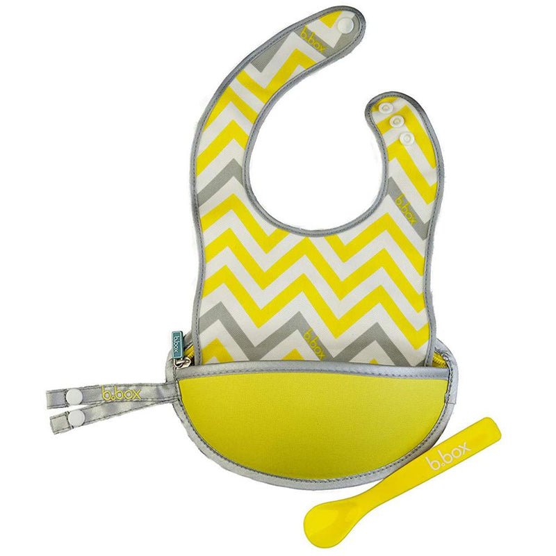 B.Box Travel Bib + Spoon - Mellow Lellow