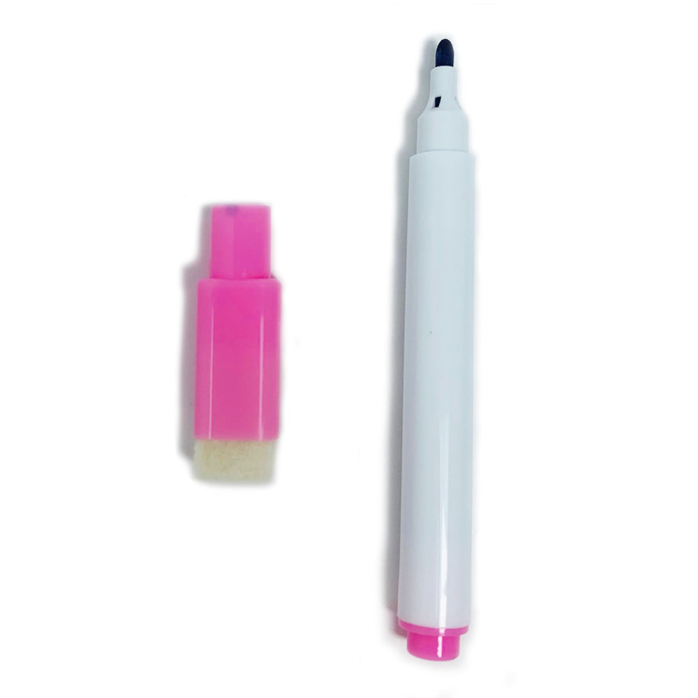 Slim Whiteboard Marker with Duster, Pink