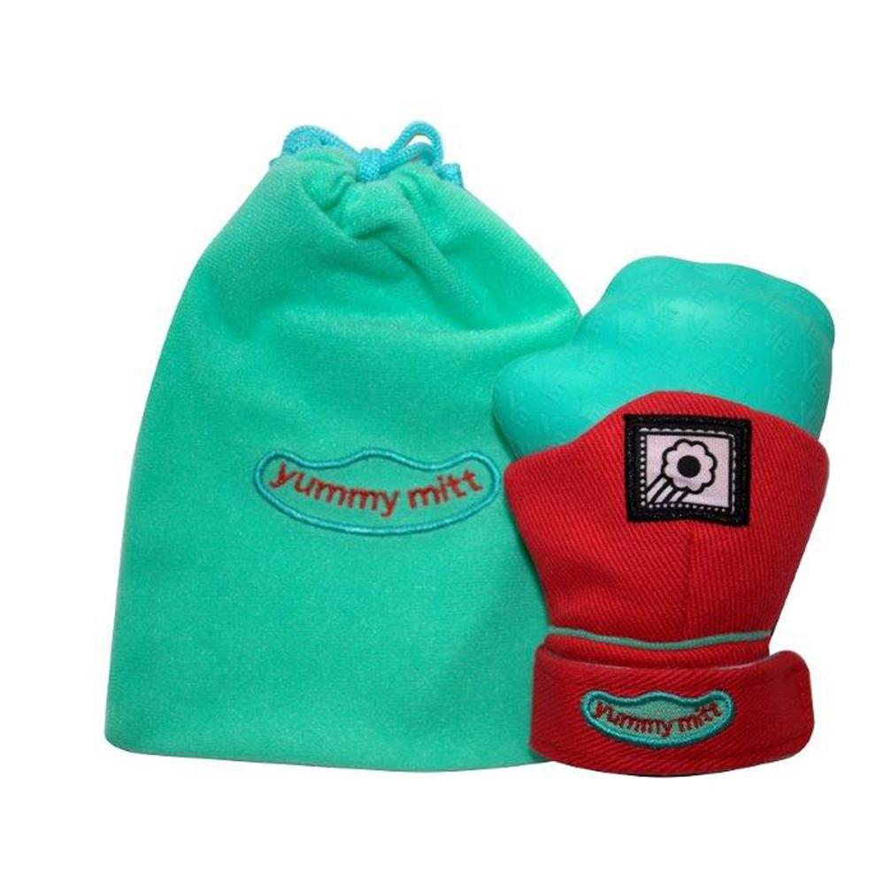 "Yummy Mitt Teething Mitten Red and Turquoise ""GLOW IN THE DARK"""