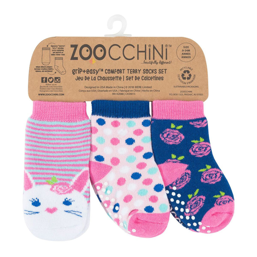 Zoocchini Baby Terry 3 pc Sock set - Bella the Bunny