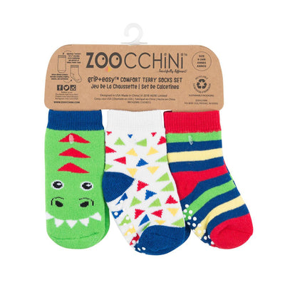 Zoocchini Baby Terry 3 pc Sock set - Devin the Dinosaur
