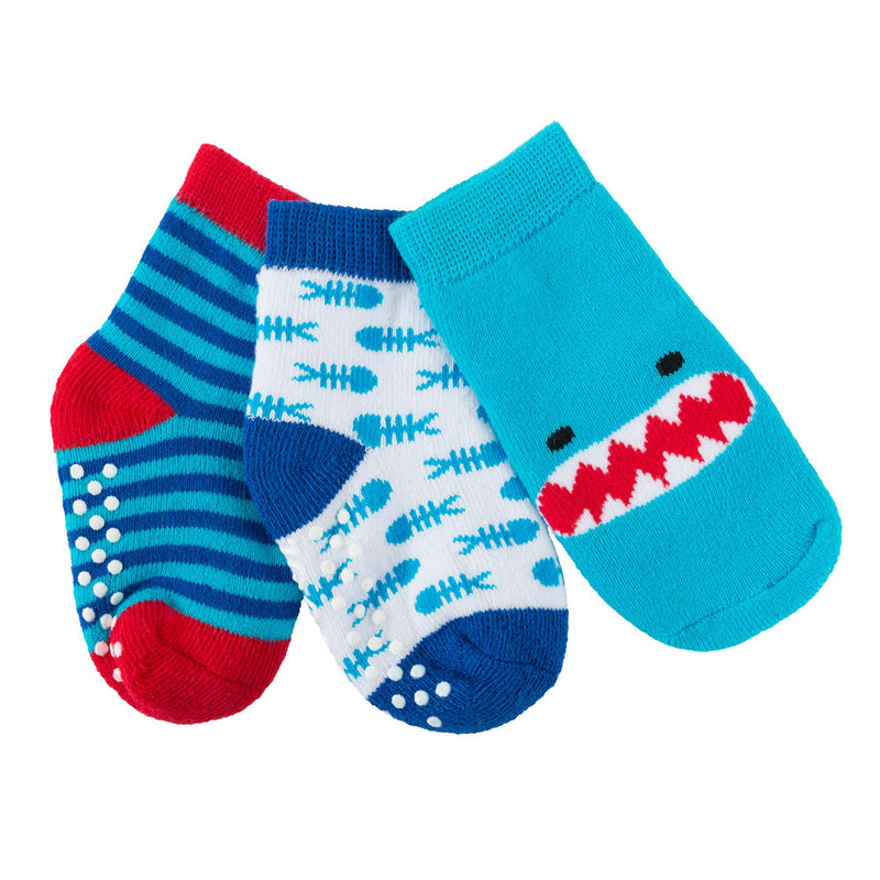 Zoocchini Baby Terry 3 pc Sock set Sherman the Shark