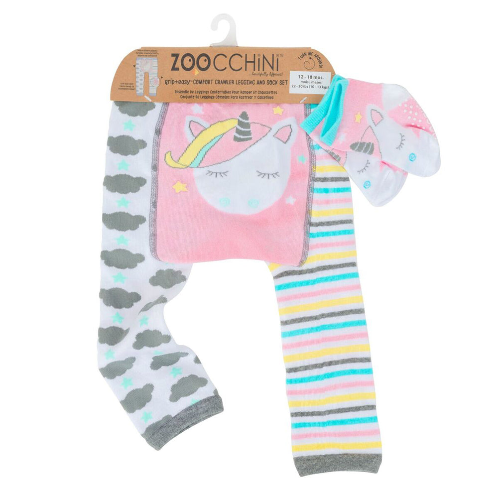Zoocchini Comfort Crawler Babies Legging and Sock set - Allie the Alicorn