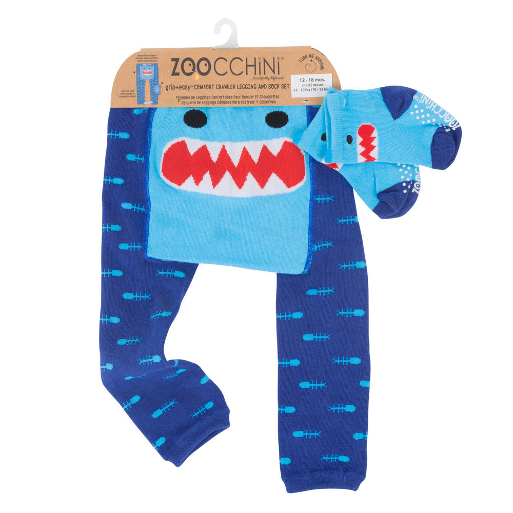 Zoocchini Comfort Crawler Babies Legging and Sock set - Sherman the Shark