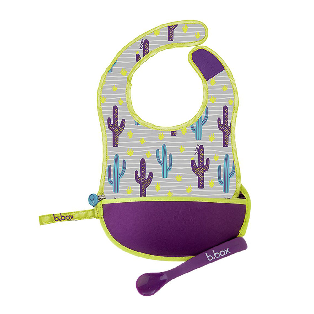 B.Box Travel Bib + Spoon -  Cactus Capers