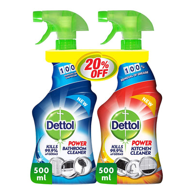 Dettol Kitchen Cleaner+Bathroom Cleaner - Lemon 20% Off 2X500ML