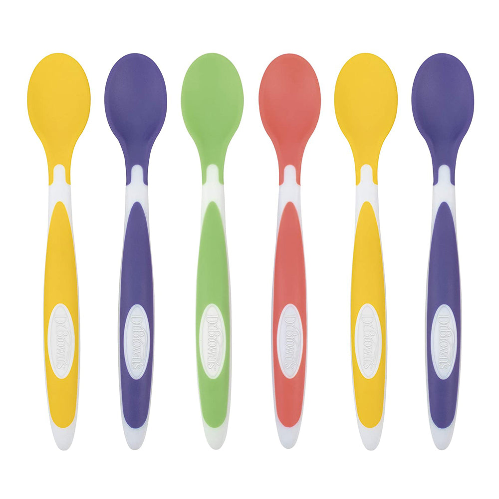 Dr Brown's Soft-Tip Spoon, 6-Pack (2x Yellow, 2x Purple, 1x Green, 1x Red)