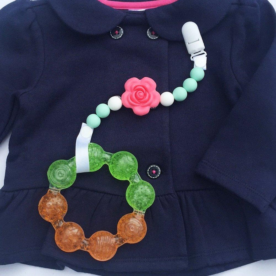Little Sprouts Pacifier Clip - 2 in 1 - Teething  Silicone Green Beads, Red Flower