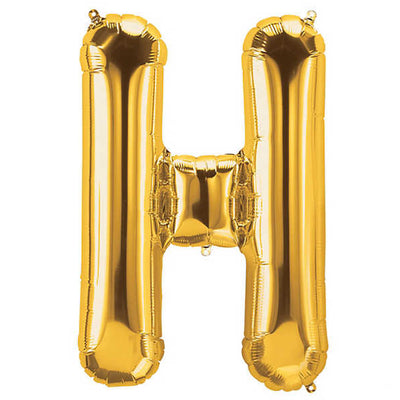 Gold Foil Balloons Alphabet Letters, Inflated with Helium