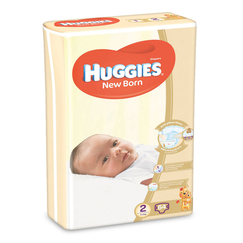 Huggies Stage 2 New Born Diapers (4-6 Kg) 64 Pieces