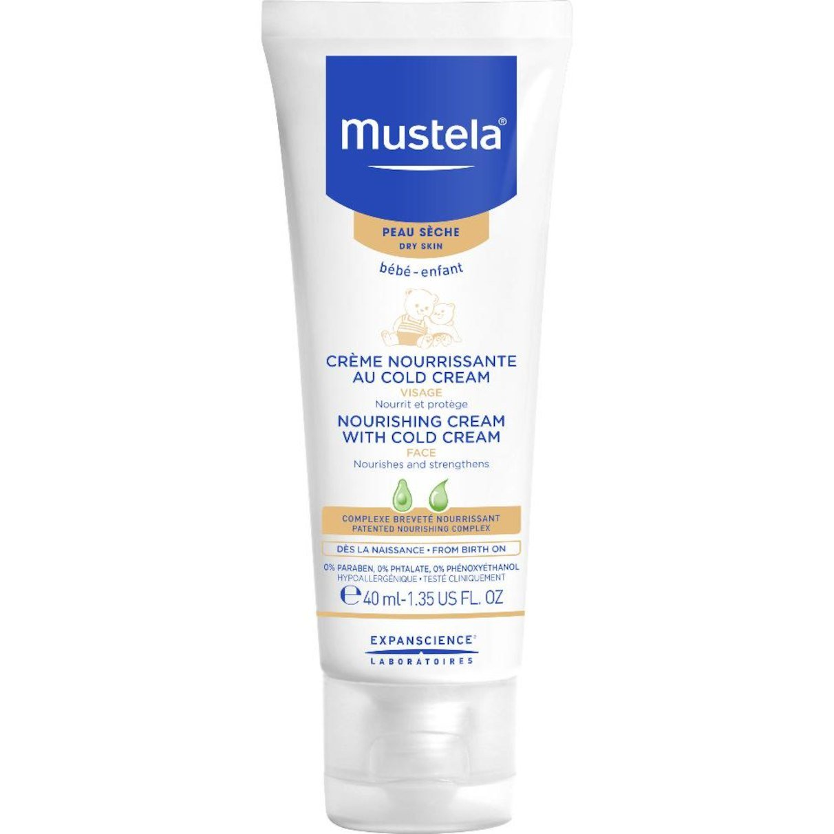 Mustela Facial Nourishing Cream with cold cream, 40Ml