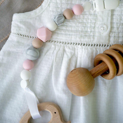 Little Sprouts Pacifier Clip - 2 in 1  Teething Silicone Pink Beads.