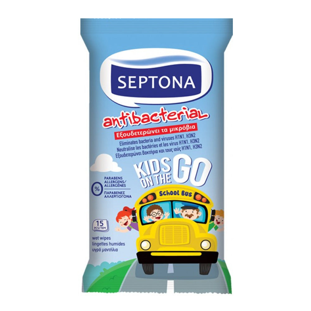 Septona Kids On the Go Antibacterial Wipes, 15 wipes