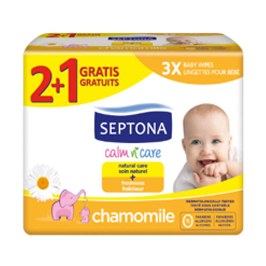 Septona Baby Wipes Chamomile (64 wipes), Buy 2 Get 1 Free