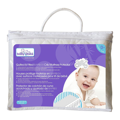 Baby Works Rayon from Bamboo Quilted & Fitted Crib Mattress Protector