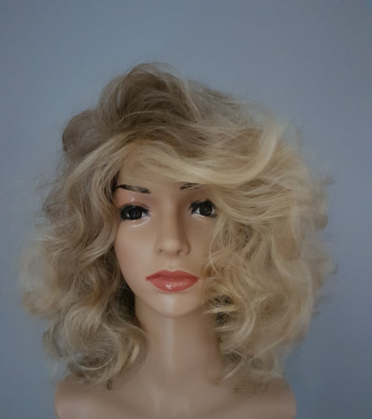 "Synthetic Non-Lace Curly Bob Style Wig 12"" Dark Blonde Light Blonde Ombre - wonda wigs"