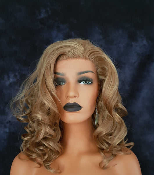 "Synthetic Strawberry Blonde Curly Lace Front Wig 16"" Small Cap Size - wonda wigs"