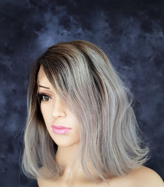 "Human Hair Straight Bob Style Lace Front Brown Grey Ombre Wig 10"" - wonda wigs"