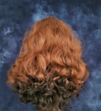 "Synthetic Lace Front Wavy Auburn Dark Brown Wig 20"" - wonda wigs"
