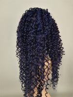 "Synthetic Non Lace Midnight Blue and Black Long Spiral Curly Wig 26"" - wonda wigs"