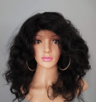 "Synthetic Wavy Black Lace Front Deep Side Parting Wig 18"" - wonda wigs"