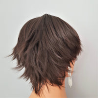 Short Brown Flicked Synthetic Unisex Pixie Style Wig - wonda wigs