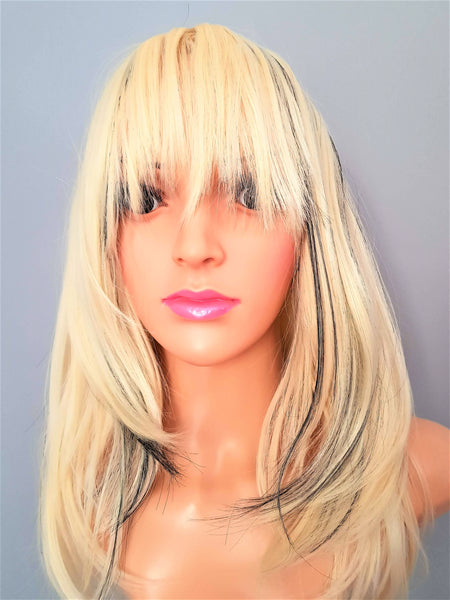 "Cosplay Synthetic Non-Lace Blonde Black Straight Wig With Bangs 14"" - wonda wigs"
